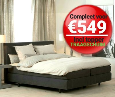 BOXSPRING BRUSSEL INCL TOP MATRAS TRAAGSCHUIM T.W.V €269