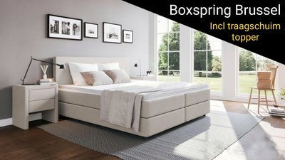 Boxspring Brussel (incl traagschuim topper)